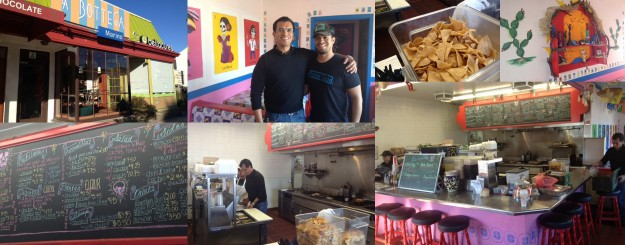 Collage - La Bottega Marino, future location of Pinches Tacos; Miguel and Javier Anaya, scenes from Pinches Tacos in Culver City.