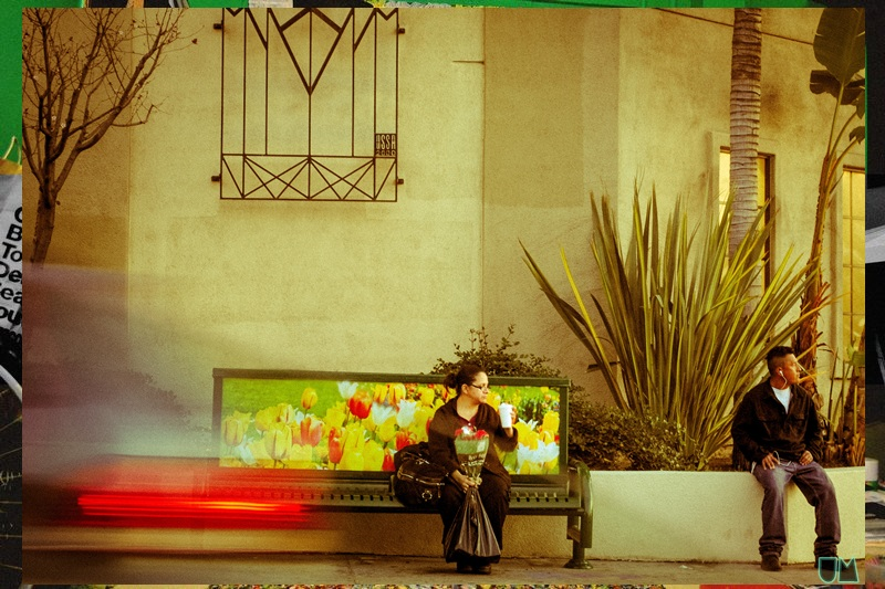 """Driving down Melrose at Western - I caught this moment of woman at bus stop."" Photo by Uchenna"