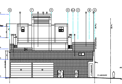 Elevation drawing of the alley facade.
