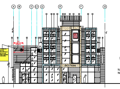 Elevation diagram of north facade, along La Brea.