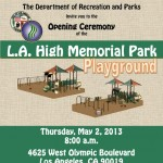 Join Councilmember LaBonge for Opening Ceremony of the LA High Memorial Park Playground