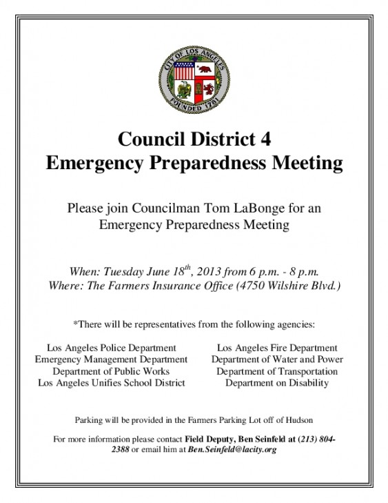 CD4 Community Emergency Preparedness Meeting @ Farmers Insurance Building | Los Angeles | California | United States