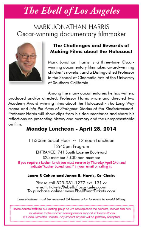 "Ebell Lunch: Mark Jonathan Harris, ""Making Films about the Holocaust"" @ Ebell Club 