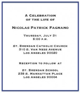 Memorial Service Celebrating the Life of Nick Fagnano @ St. Brendan Church | Los Angeles | California | United States