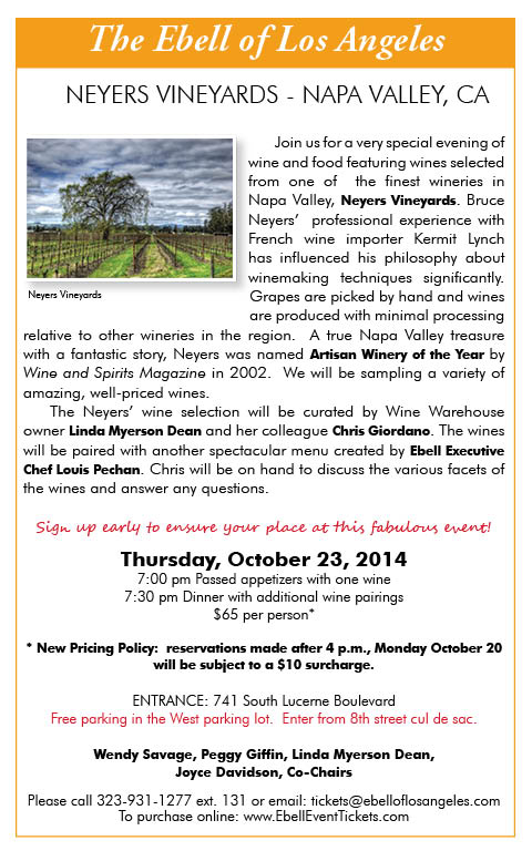 Ebell Wine & Food Dinner: Neyers Vineyards @ Ebell Club
