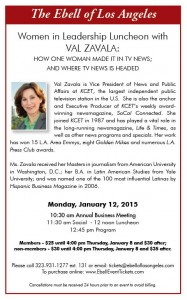 "Ebell Lunch: ""Val Zavala - How One Woman Made it in TV News and Where TV News is Headed"" @ The Ebell 