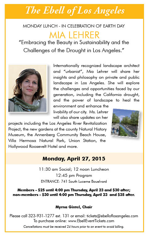 Ebell Lunch: Landscape Architect Mia Lehrer  @ Los Angeles | California | United States
