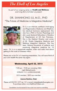 Ebell Speaker, Dr. Shanhong Lu, 'The Future of Medicine is Integrative Medicine' @ Ebell of Los Angeles | Los Angeles | California | United States