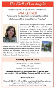 Ebell Lunch: Landscape Architect Mia, Lehrer 'Embracing the Beauty in Sustainaility and the Challenges of the Drought in Los Angeles ' @ Ebell of Los Angeles | Los Angeles | California | United States