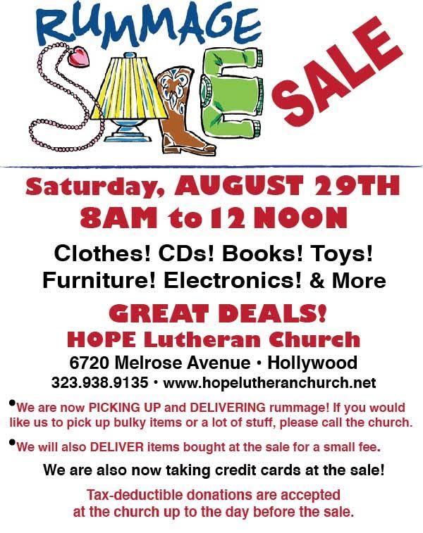 Hope Lutheran Church Rummage Sale @ Hope Lutheran Church | Los Angeles | California | United States