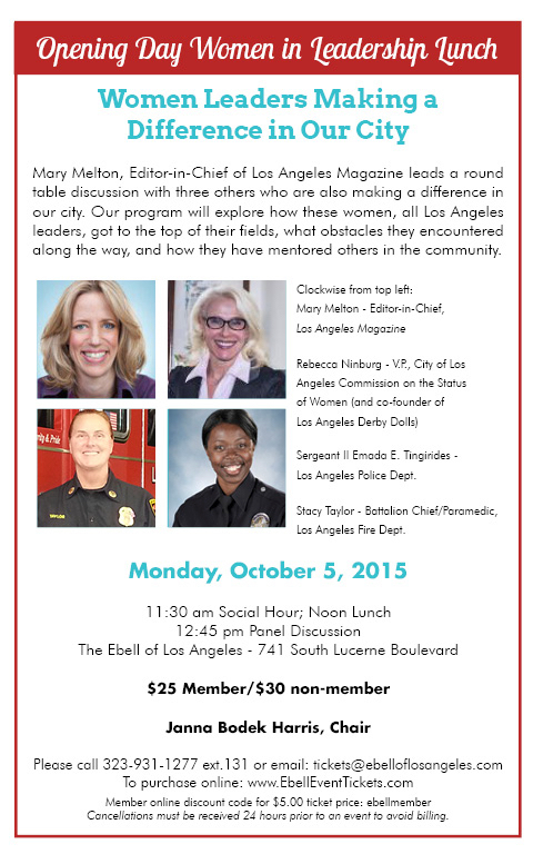 "Ebell Lunch: ""Women Leaders Making a Difference in Our City"" @ Ebell of Los Angeles 
