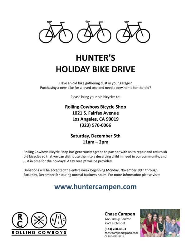 Hunter's Holiday Bike Drive @ Rolling Cowboys Bicycle Shop | Los Angeles | California | United States